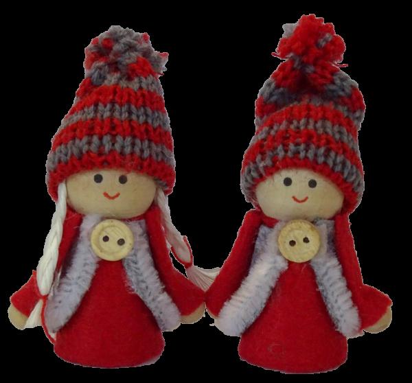 Sebastian Design, Kerzenringe, Holzkränze, skandinavische Kerzenringe, Steckfiguren, Winterpüppchen Sofie und Piet in rot
