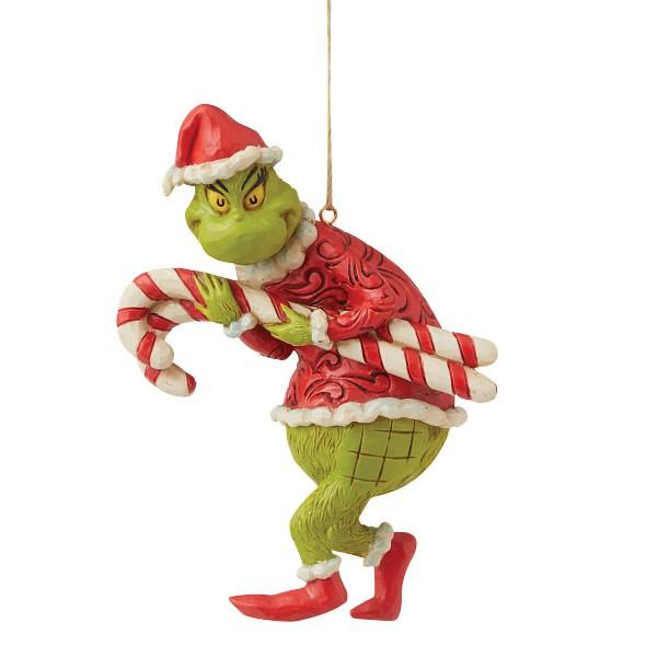 Jim Shore, Heartwood Creek, The Grinch Collection, Grinch, Grinch Stealing Candy Canes Ornament, Grinch stiehlt Zuckerstangen Weihnachtsanhänger, 6009206, The Grinch by Jim Shore, Dr. Seuss