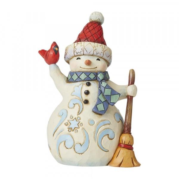 Jim Shore, Heartwood Creek, Jim Shore Weihnachten, 6009004, Pint Sized Snowman with Cardinal, Schneemann mit Kardinal, Jim Shore Schneemann, Jim Shore Snowman, Heartwood Creek Snowman, Heartwood Creek Schneemann