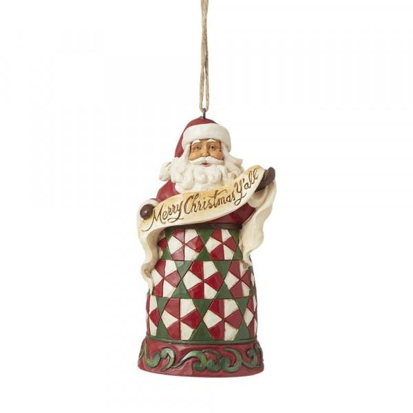 Jim Shore, Heartwood Creek, Jim Shore Weihnachten, 6008098, Merry Christmas Y'All Ornament, Frohe Weihnachten Weihnachtsmann, Jim Shore Weihnachtsmann, Jim Shore Santa