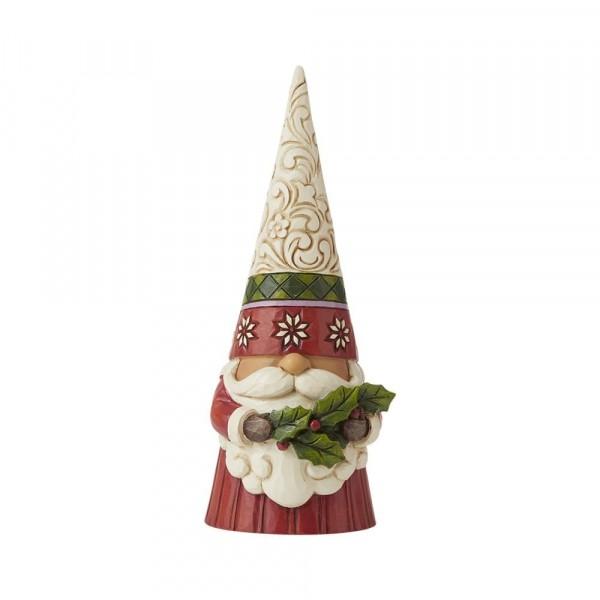 Jim Shore, Heartwood Creek, Jim Shore Gnome, Heartwood Creek Gnomes, Jim Shore Wichtel, 6009180, Weihachtswichtel mit Stechpalme, Christmas Gnome Holding Holly
