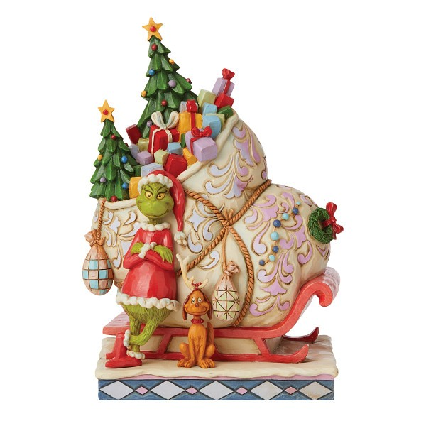 Jim Shore, Heartwood Creek, The Grinch Collection, Grinch, Grinch Standing in front of Sleigh, Grinch mit Schlitten, 6008884, The Grinch by Jim Shore