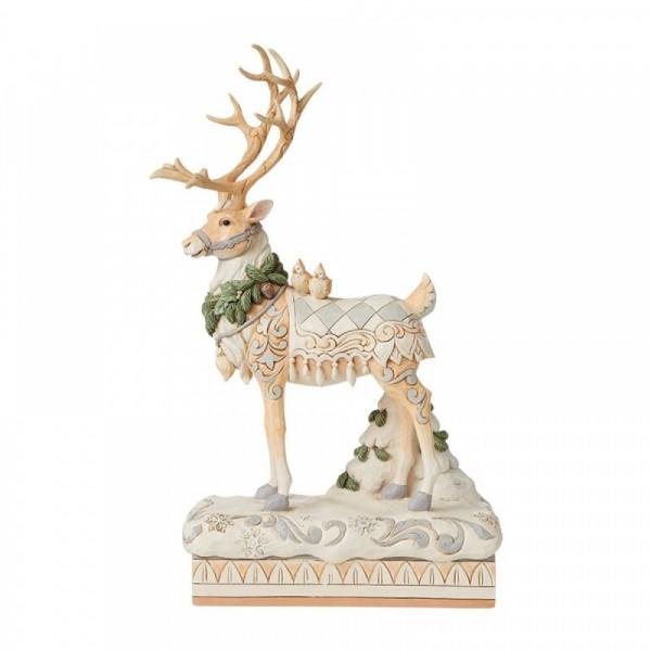 Jim Shore, Heartwood Creek, Jim Shore Reindeer, Heartwood Creek Rentier, Large Reindeer Centrepiece, Rentier Statue White Woodland Collection