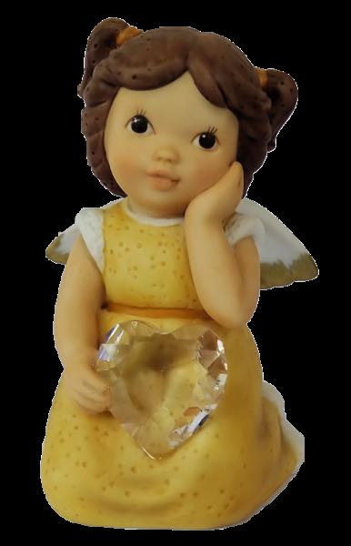 Engel kniend mit Herz, gelb