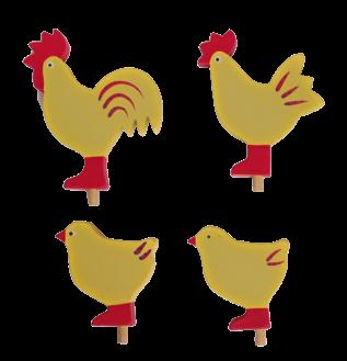 Sebastian Design, Kerzenringe, Steckfiguren, Hahn, Henne und zwei Küken in gelb