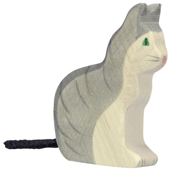 Sebastian Design, skandinavische Kerzenringe, Kerzenring, Kerzenringe, Candlerings, Steckfigur, Katze, sitzende Katze, weiß-graue Katze, 80055