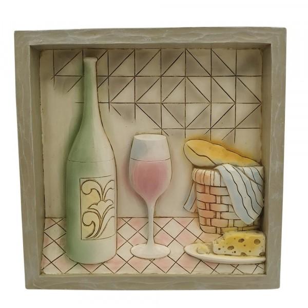 Jim Shore, Heartwood Creek, Wine Plaque, Wine Bottle Plaque, Bild mit Weinflasche und Weinglas, 6009341, Volkskunst