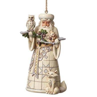 Heartwood Creek, Jim Shore, White Woodland Santa Ornament, Weihnachtsmann mit Tieren