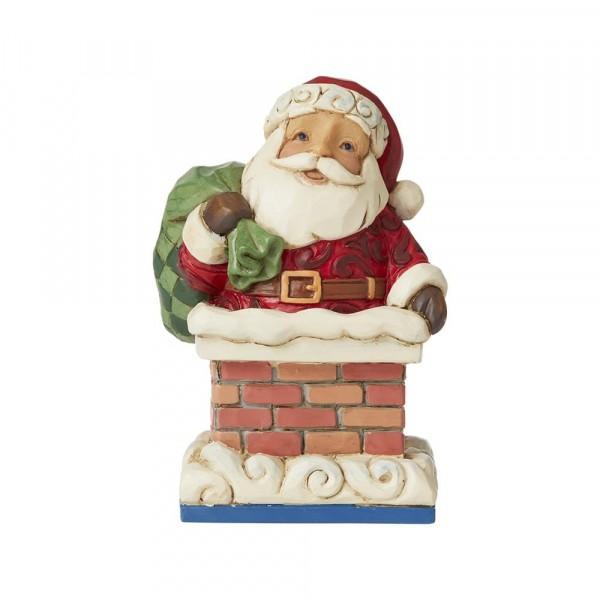 Jim Shore, Heartwood Creek, Jim Shore Weihnachten, 6009011, Mini Santa in Chimney, Mini Weihnachtsmann im Schornstein, Jim Shore Weihnachtsfigur, Heartwood Creek Weihnachtsfigur