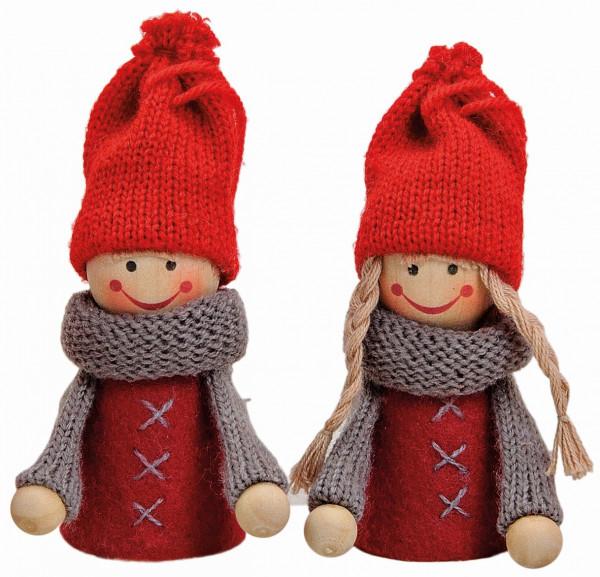 Schöne winterliche Dekoration für die großen Kerzenringe von Sebastian Design. Pärchen, Winterkinder, rot, 10021650