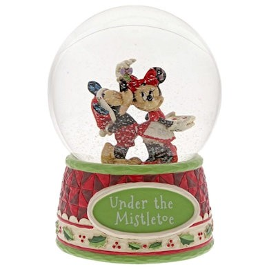 DIsney Traditions, Jim Shore - Under The Mistletoe Mickey & Minnie Waterball, Micky & Minnie Schneekugel
