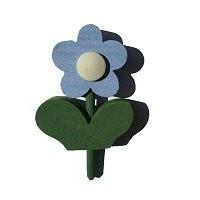 Blume mit Blatt blau f. kl. Kerzenr