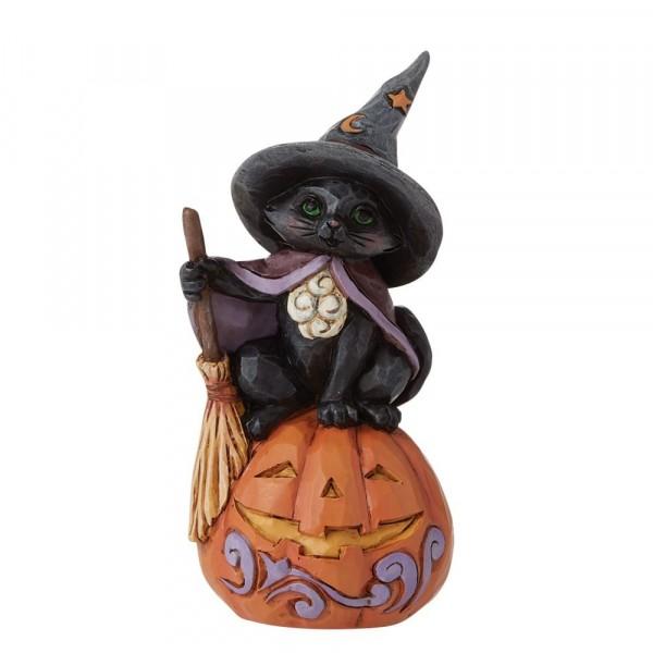 Jim Shore, Heartwood Creek, Jim Shore Halloween, 6009515, Mini Black Cat with Jack-O-Lantern, Schwarze Katze mit Kürbis