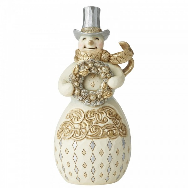 Heartwood Creek, Jim Shore, Share Your Spirit With A Smile Snowman, Schneemann White Woodland Collection