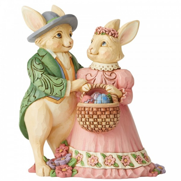 Heartwood Creek, Jim Shore, Hare's To Happiness, Bunny Couple with Basket Figurine, Osterhasenpärchen, Osterhasen