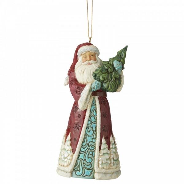 Jim Shore, Heartwood Creek, Handarbeit, Folk-Art, Wonderland Collection, Santa Holding Tree, Weihnachtsmann mit Tannenbaum, 6006608 Ornament, Anhänger, Weihnachtsanhänger, Tannenbaumanhänger, Christbaumanhänger