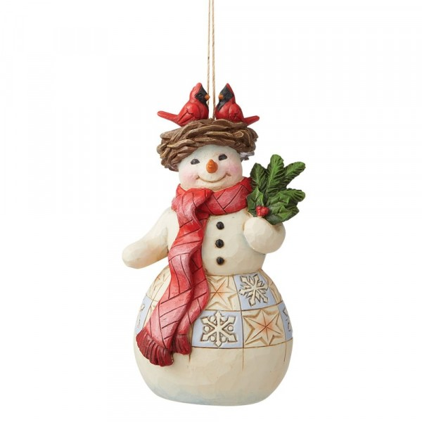 Jim Shore, Heartwood Creek, Jim Shore Weihnachten, 6009469, Snowman with Cardinal Ornament, Schneemann mit Kardinal Weihnachtsanhänger, Jim Shore Schneemann, Jim Shore Snowman, Heartwood Creek Snowman, Heartwood Creek Schneemann