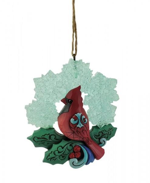 Jim Shore, Heartwood Creek, Jim Shore Weihnachten, 6009490, Cardinal with Snowflake Ornament, Kardinal mit Schneeflocke Weihnachtsanhänger