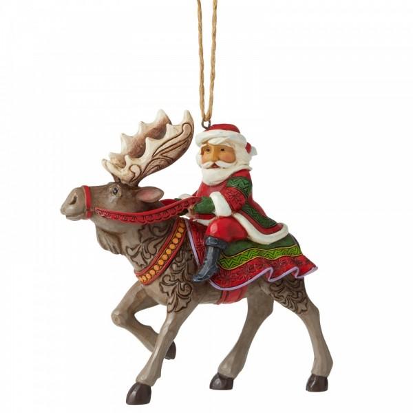 Jim Shore, Heartwood Creek, Folk-Art, Santa, Weihnachtsmann, Ornament, Santa Riding Reindeer, Weihnachtsmann, Rentier, Santa Riding Moose, 6006669