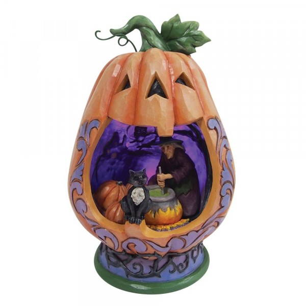 Jim Shore, Heartwood Creek, Jim Shore Halloween, 6009511, Beleuchtetes Kürbisdiorama, Lighted Pumpkin Diorama, Jim Shore Hexe