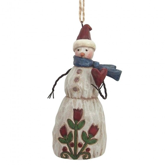 Heartwood Creek, Jim Shore, Folklore Snowman with Heart Ornament, Anhänger, Schneemann