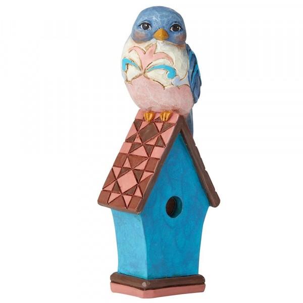Heartwood Creek, Jim Shore, Mini Blue Bird on Birdhouse, Vogel auf Vogelhaus