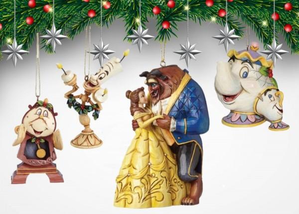 Disney Traditions, Jim Shore, A27429_60, Beauty and the Beast, Schöne und das Biest, Cogsworth, Herr von Unruh, Lumière, Mrs. Potts & Chip, Mrs. Potts & Tassilo, Jim Shore Disney, Jim Shore Disneyfigur, Jim Shore Weihnachten, Jim Shore Winnie Puuh