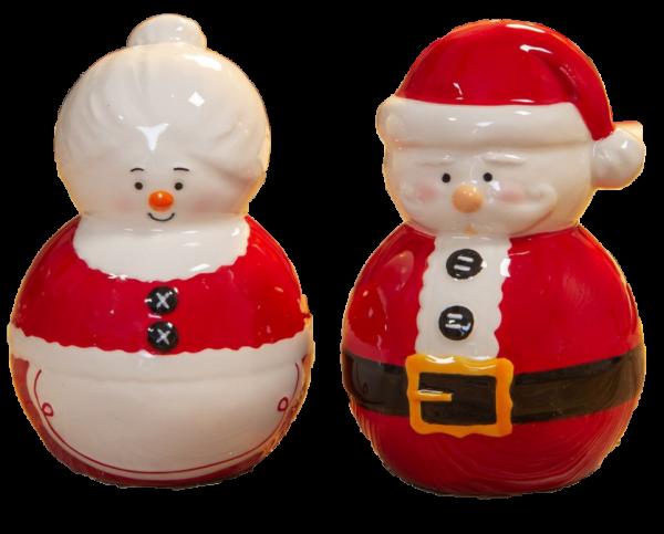 """Festliche weihnachtliche Salz- und Pfefferstreuer mit Weihnachtsmann und Weihnachtsfrau - Aus der Widdop """"North Pole Novelties Co."""" Collection by Santa's Workshop, XM6721"""