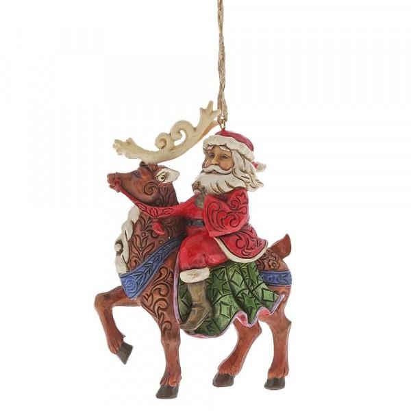 Heartwood Creek, Jim Shore, Santa Riding Reindeer, Weihnachtsmann mit Rentier, Ornament, Anhänger
