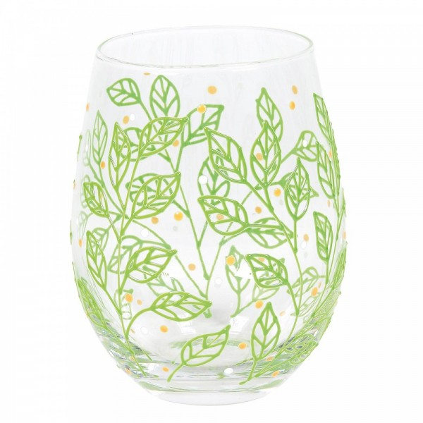 Izzy and Oliver, Trinkglas, Trinkgläser, handbemalte Gläser, Spring Leaves, Frühlingsblätter, 6007008
