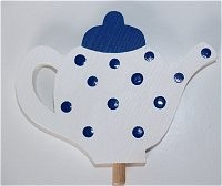 Teekanne, blau für Kerzenring groß