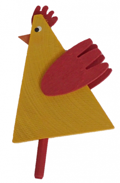 Sebastian Design, Kerzenringe, Steckfiguren, gelber Hahn, dreieckig