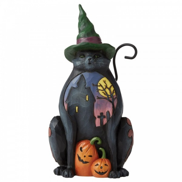 Heartwood Creek, Jim Shore, Halloween, Cat with Scene on Side, Pint Sized Figurine, Cat with Halloween Scene, Katze mit Halloween Szene