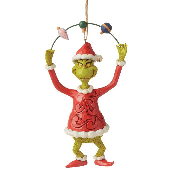 Jim Shore, Heartwood Creek, The Grinch Collection, Grinch, Grinch Juggling Ornaments, Grinch jongliert mit Ornamenten Weihnachtsanhänger, 6008896, The Grinch by Jim Shore