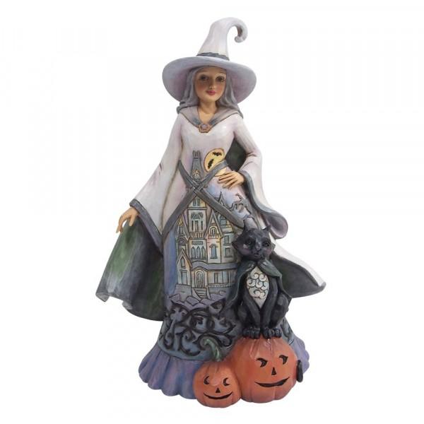 Jim Shore, Heartwood Creek, Jim Shore Halloween, 6009506, Witch with Pumpkins and Cat, Hexe mit Kürbissen und Katze Halloween Hexe