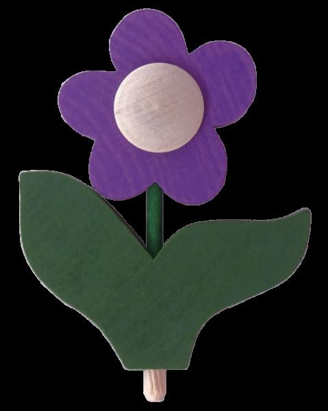 Sebastian Design, Candlering, Kerzenring, Skandinavischer Holzkranz, Skandinavische Kerzenringe, Blume mit Blatt, lila, 10-530-152