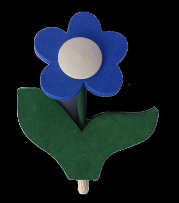 Sebastian Design, Candlering, Kerzenring, Skandinavischer Holzkranz, Skandinavische Kerzenringe, Blume mit Blatt, blau, 10-530-134