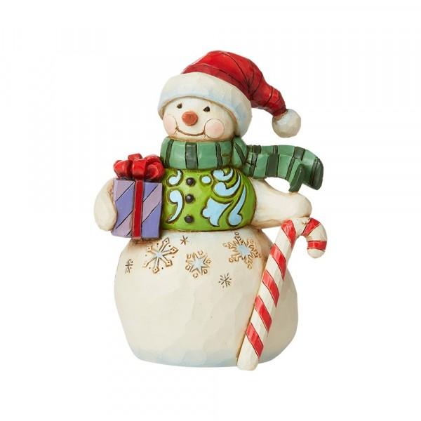 Jim Shore, Heartwood Creek, Jim Shore Weihnachten, 6009009, Mini Snowman with GIft and Candy, Mini Schneemann mit Geschenk und Zuckrstange, Heartwood Creek Schneemann, Jim Shore Schneemann