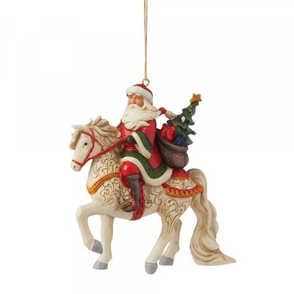 Jim Shore, Heartwood Creek, Jim Shore Weihnachten, 6009460, Santa Riding Horse Ornament, Weihnachtsmann auf Pferd Weihnachtsanhänger, Jim Shore Santa, Jim Shore Weihnachtsmann, Heartwood Creek Santa, Heartwood Creek Weihnachtsmann