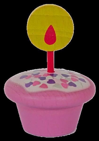 Geburtstagsmuffin, rosa mit Herzchen