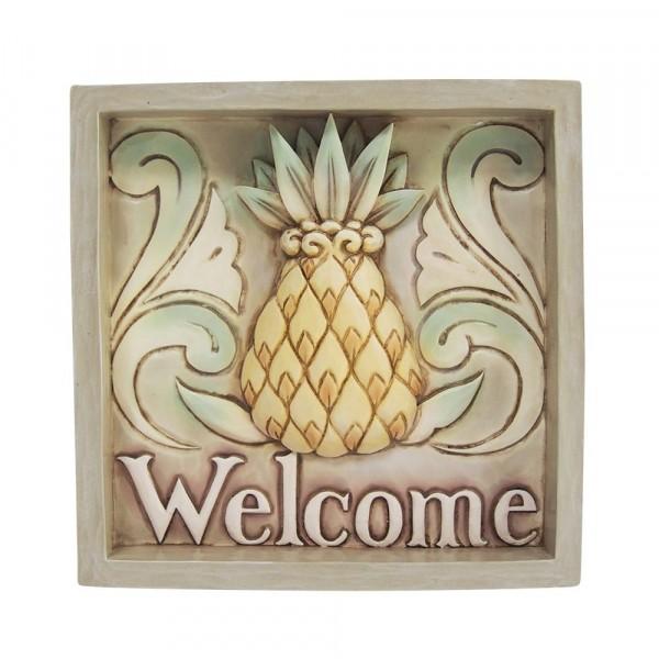 Jim Shore, Heartwood Creek, Welcome Pineapple Plaque, Bild mit Ananas, Willkommen, 6009340, Volkskunst
