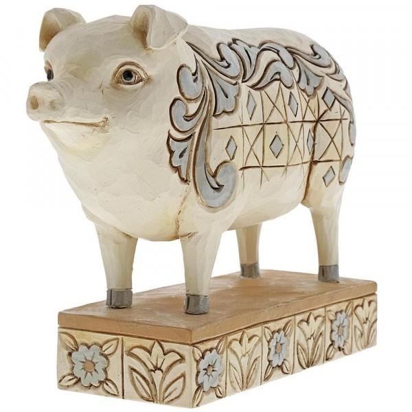 Heartwood Creek, Jim Shore, Hog Wild, White Farmhouse Pig, Schwein