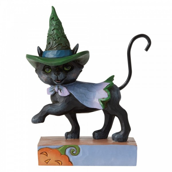 Heartwood Creek, Jim Shore, Halloween, Walking Black Cat with Witch's Hat, Schwarze Katze mit Hexenhut
