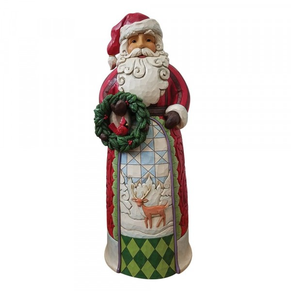 Jim Shore, Heartwood Creek, Jim Shore Weihnachten, ND4059915, Santa Statue Holding Wreath, Weihnachtsmann Statue mit Kranz, Jim Shore Santa, Jim Shore Weihnachtsmann, Heartwood Creek Santa, Heartwood Creek Weihnachtsmann