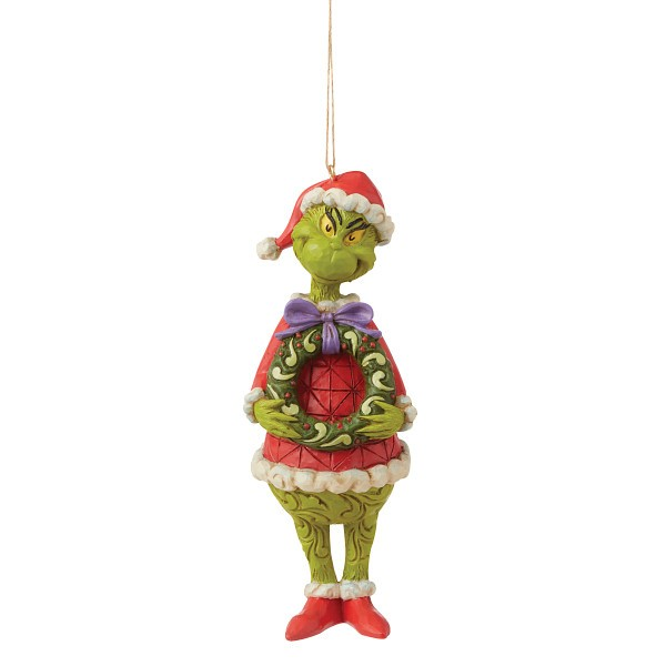 Jim Shore, Heartwood Creek, The Grinch Collection, Grinch, Grinch with Wreath Ornament, Grinch mit Kranz Weihnachtsanhänger, 6009205, The Grinch by Jim Shore, Dr. Seuss