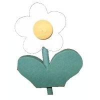 Blume mit Blatt, weiss, klein