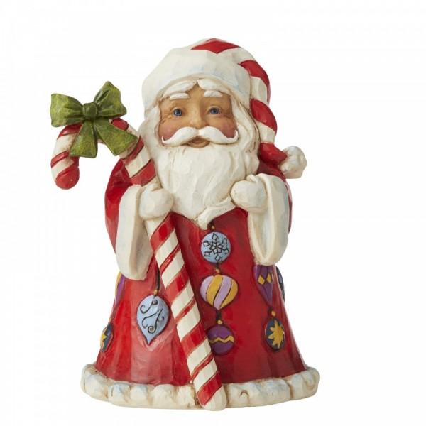 Heartwood Creek, Jim Shore, Santa with Big Candy Cane, Weihnachtsmann mit großer Zuckerstange, Mini Figurine, Minifigur