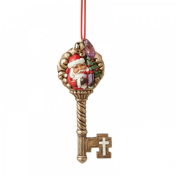 Jim Shore, Heartwood Creek, Jim Shore Weihnachten, 6008099, Legend of Santa's Magic Key Ornament, Legende des magischen Schlüssels, Jim Shore Weihnachtsmann, Jim Shore Santa
