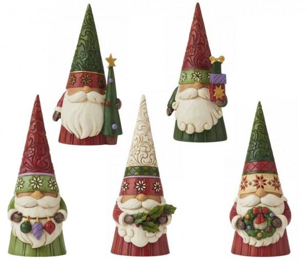 Jim Shore, Heartwood Creek, Jim Shore Gnome, Heartwood Creek Gnomes, Jim Shore Wichtel, 6009180_84 Weihachtswichtel Set mit 5 Stück, Christmas Gnome, Christmas Gnomes