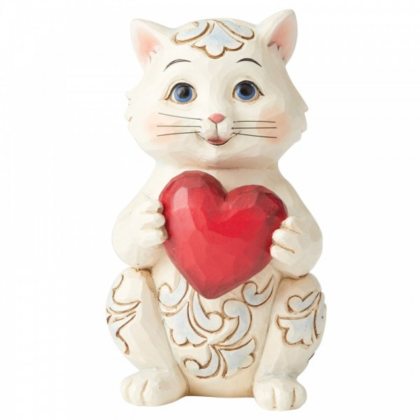 Heartwood Creek, Jim Shore, Purrfectly Loved, Cat Holding Heart, Katze mit Herz